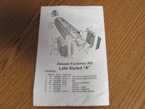 JD LATE STYLED A HOOD BOLT KIT 9209